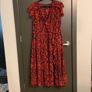 Red snakeskin midi dress